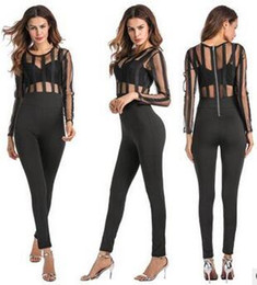 Wholesale New Club Bodysuits - New summer solid color piece tight pants jumpsuit and bodysuit fashion zipper perspective Siamese pants Bodysuits women club wear rompers