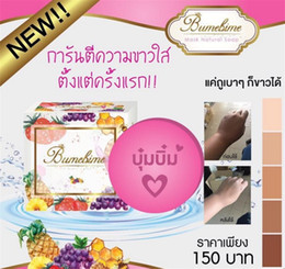 Wholesale Halloween Thailand - Thailand Bumebime Handmade Soap Mask Natural Fruit Essential Oil White Bright Handwork Soap with Free Halloween Organza Bag Gift