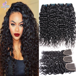 Wholesale Wet Wavy Hair Extensions - Brazilian Human Hair 4 Bundles With Closure Wet and Wavy Brazilian Virgin Hair Extensions With Lace Closure Water Wave Human Hair Weaves