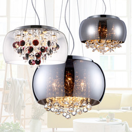 Wholesale Crystal Restaurants - Modern Glass Lampshade Crystal Balls Butterfly Living Room Ceiling Pendant Light Dining Room Pendant Lamp Restaurant Hanging Lighting