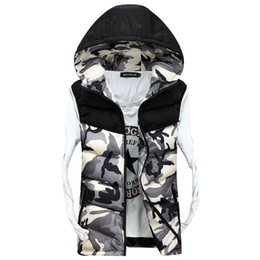 Wholesale Casual Male Camouflage Vest - 2016 New Men's Hooded Camouflage Vests Men Women Winter Sleeveless Casual Jackets Male Slim Camo Waistcoats,Brand Clothing,SA030