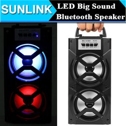 Wholesale high output speakers - Portable High Power Output MP3 FM Radio Wireless Bluetooth Speaker Wih USB TF Card Slot Support AUX Song Track LED Light Flash