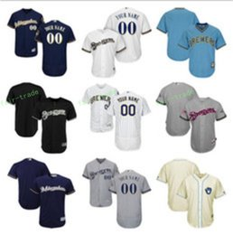 Wholesale Custom Name Jerseys - 2017 cheap Custom Milwaukee Brewers baseball Jerseys Personalized Customized any name any number Stitched jersey Men Women Kids Size S-5XL