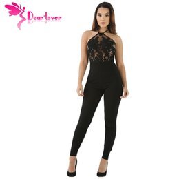 Wholesale Halter Top Jumpsuits Women - Dear-Lover Party Bodycon Jumpsuit Black Sheer Lace Top Halter Sexy Slim Club Romper Overalls for Women Combinaison Femme LC64259 17410