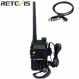 Wholesale Handy Uhf - Wholesale- Retevis RT 5R Walkie Talkie 128CH UHF+VHF HF Transceiver Portable Radio Set Handy Radio Comunicador A7105A-C9018