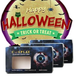 Wholesale Dhl Contact Lenses - Halloween boxes with stickers crazy contact lens box stickers DHL free shipping