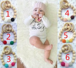 Wholesale Toddler Wooden Beads - Infant Wooden Teethers baby Teething ring toddler Soothers Wooden hand Bracelet for children Wood beads tooth bite baby gum wooden glue