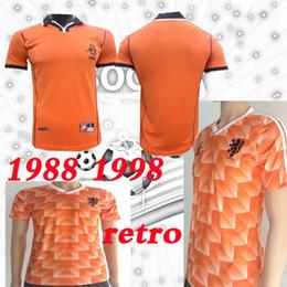 retrocesos de camisetas de fútbol Rebajas 88 89 camiseta de fútbol Países Bajos Van Basten Gullit Throwback 98 99 Voetbal Shirt Seedorf Bergkamp Holland 1988 1998 Camisetas de fútbol