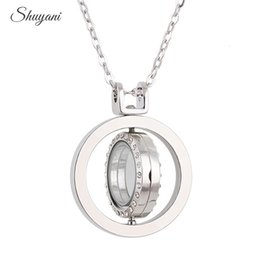 Wholesale Necklace For Living Locket - New Arrival 37mm Round Rotation Floating Lockets with Rhinestone for Women Living Memory Locket Necklaces Making Jewelry
