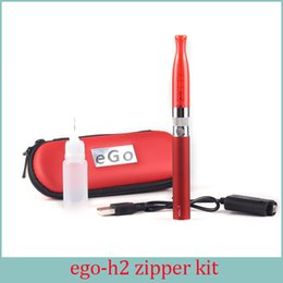 Wholesale Ecig Case Battery - GS H2 EGo T Zipper Case Electronic Cigarette Starter kit 2.0ml H2 atomizer Replaceable Coil 2.4 ohm EGO T ECIG Battery