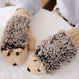 Wholesale Warm Villus - New 5 Colors Girls Novelty Cartoon Winter Gloves for Women Knit Warm Fitness Gloves Hedgehog Heated Villus Wrist Mittens