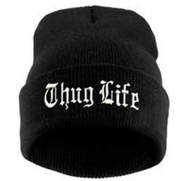Wholesale Thug Life Knitted Hats - THUG LIFE Cap Plain Warm Soft Beanie Skull Knitted Hat Beanies Knitted Elastic Cap Skull Caps 200pcs OOA2602