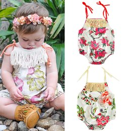 Wholesale Singlets Girls - 2017 Ins Summer Baby Girl Floral Rompers Baby Tassel Singlet Jumpsuit Sunsuit Beach Clothes Kids Clothing Girls