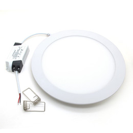 Wholesale Thin Light Bulbs - Wholesale- Ultra Thin Brightest Round 25W LED Downlight Dimmable Ceiling Lamp Panel Bulb AC85-265V Warm  Cool white Lighting Aluminum