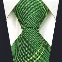 Wholesale Classic Dressing For Men - B19 Green Checkes Silk Wedding Mens Necktie Tie Fashion Classic Ties for male Dress extra long size