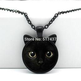 Wholesale Cat Ear Glasses - 2016 New Black Cat Pendant Cat Face Necklace Cat Ear Jewelry Girls Glass Cabochon Necklace CN-00327
