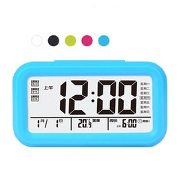 Wholesale Large Digital Clock Calendar - Lazy Mute Alarm Clock LED Light Hourpower Luminous Large Digital Clocks Student three Sets Of Bell Bedroom Table Decor Originality 22hy F R