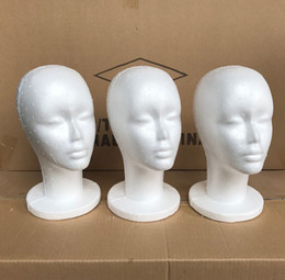 Wholesale Wholesale Woman Mannequin - 5Pcs Female Styrofoam Foam Mannequin Manikin Head Model Wig Glasses Hat Display Stand Creative Men Male Smooth Mannequin Head Model Wig Hat