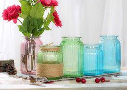 Wholesale Glass Flower Vase Wedding - New Glass Vases Flower Pots Home Decoration Tabletop Vase for Wedding Party Christmas Festivals Hot Sale
