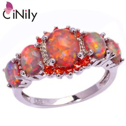 Wholesale Wholesale Horn Jewelry - Wholesale- CiNily Orange Fire Opal Orange Garnet Silver Plated Ring Wholesale Wedding Party Gift for Women Jewelry Ring Size 5-12 OJ4576