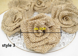 Wholesale Vintage Wedding Hats - Natural Jute Burlap Hessian Flower Rose Handmade rustic Vintage Wedding Decoration Party Decoration Hat Craft DIY Accessories 50pcs