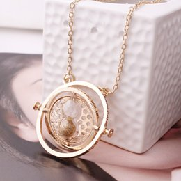 Wholesale Hourglass Necklaces - Wholesale- Hot Sale HOT MOVIE Time Turner Necklace Hermione Granger Rotating Spins Gold Hourglass 8 Colors