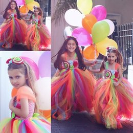 Wholesale Kids Rainbow Gown - Colorful Rainbow Flower Girls Dresses With Spaghetti Straps Handmade Flowers kids Communion Dress Long Tulle Customized Girls Pageant Gowns