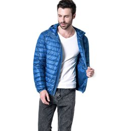 Wholesale Ultralight Parka - Wholesale- Free shipping 2017 Men Winter Coats Feather Jacket Men Ultralight Down Jackets With A Hood Parka Homme 90hfx