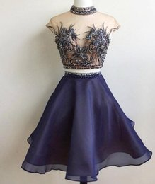 Wholesale Knee Lenght Royal Blue Dress - 2017 A-Line Luxurious Two Pieces Quinceanera Dresses Evening Dresses Beaded Crystals Tulle Prom Dresses Knee-Lenght Sexy Party Gowns