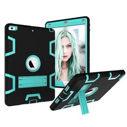 Wholesale ipad protector case for kids - 3 in 1 Shockproof kids PC + Rubber Hybrid Robot Protect Screen Protector Heavy Duty With stand caseFor iPad Pro Air iPad New 2017 Mini 123 4