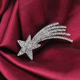 Wholesale Asian Scarfs - Corsage Scarf Buckle Dual Purpose Crystal Rhinestone Meteor Brooch Pin Metal Shooting Star Women Costume Accessory Fashion Jewelry Gift