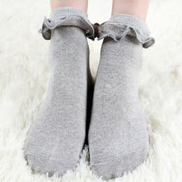 Damen spitzen socken online-Japanische weiße Lolita Socken mit Spitzen-reizender Socke Nette Damen-Frauen-Prinzessin Lace Ruffle Retro Rüschen-Socken für Mädchen