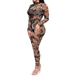 Wholesale Nightclub Jumpsuits For Women - Wholesale- African Print Jumpsuit Romper Bodycon Bandage For Women Net Yarn Digital Printing Sexy Perspective Siamese Pants Nightclub Z001
