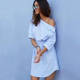 Wholesale Side Shoulder Casual Dresses - 2016 Fashion one shoulder Blue striped women shirt dress Sexy side split Elegant half sleeve waistband Casual beach dresses