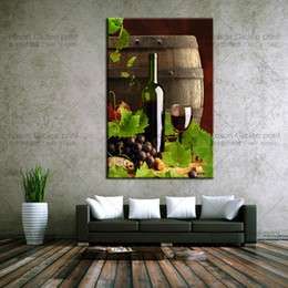 Wholesale Canvas Kitchen Wall Art - Drop Shipping Large canvas wall art grape wine picture printed on canvas for kitchen wall decor photos on canvas