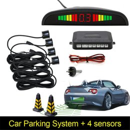Wholesale Auto Reverse Monitor - Car Auto Parktronic LED Parking Sensor With 4 Sensors Reverse Backup Car Parking Radar Monitor Detector System Backlight Display