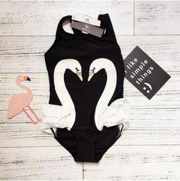 Wholesale Cute Baby Swimwear - Baby Girl Swimwear One Piece 2017 Summer Cute Swan Pattern Swiming Suits Cotton Ruffle Swan Bathing Suits Girls One Piece Swimsuit 18M-7Y