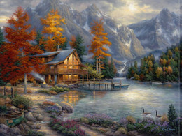 Wholesale Thomas Kinkade Landscape Paintings - Thomas Kinkade Oil Paintings Art Forest landscape Alpine Riverside Boat HD Picture High Quality Giclee Print On Canvas Modern Art Home Decor