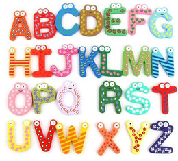 Wholesale Kids Magnetic Alphabet - Wholesale 2600pcs Children Kids English Alphabet Refrigerator Magnets Big Anti-Rust Thickened Baby Wooden Fridge Magnet Magnetic Sticker