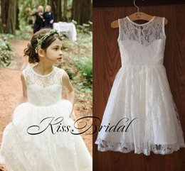 Wholesale Cheap Ritzee Dresses - 2016 Bohemia Beach Lace Flower Girls Dresses Halter tutu Ritzee Long Girl Pageant Gowns Size Teens Kids Communion Vintage Full Lace Cheap