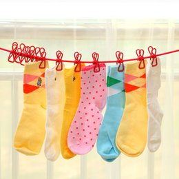 Wholesale Travelling Clothes Rack - Travel portable hanger stretching clothes rack non-slip stretchable clothesline 12 stainless steel clip high quality multiple Colour