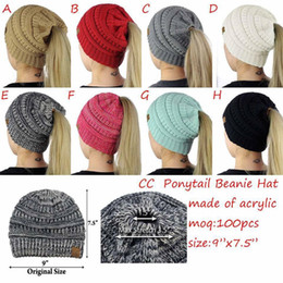 Wholesale Women Crochet Beanie - 8 Colors Women CC Ponytail Caps CC Knitted Beanie Fashion Girls Winter Warm Hat Back Hole Pony Tail Autumn Casual Beanies z081
