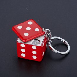 Wholesale Dice Keyring - Wholesale- Originality USB rechargeable Dice Heating wire Lighter Keychain,Creative mini Cube Dice heating strike fire Lighter with keyring