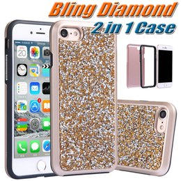 Wholesale Glitter Diamond Hard Iphone Case - Bling Diamond Case For iphone 7 Plus 2 in 1 Hard Back Cover Premium Rhinestone Glitter Phone Case For iPhone 7 Plus 6 6S 4.7 5.5 inch 10pcs
