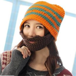 Wholesale Knitted Beard Ski Mask - Beanie Mask Gorro Men Women Winter Hats Novelty Hats for Funny Wool Handmade And Striped Skullies Knit Hat Beard Ski Hat DHL