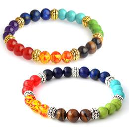 Wholesale Wholesale Gemstone Gold Filled - Lava Rock Stone Beads Stretch Women Bracelet Chakra Healing Balancing Natural Gemstone Men Bracelet Essential Oil Diffuser Bracelet B366S