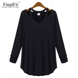 Wholesale Hang Loose - Wholesale-FinalFit Long Sleeve Loose T Shirt Women, Hang On Neck