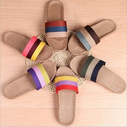 Wholesale Flax Medium - Summer Linen Comfortable Flax Knitted Women Men Striped Pantuflas Home Shoes Household Slipper Couple Rattan Pantufas Bedroom Pantofole