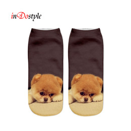 Wholesale Funny Slippers For Men - Wholesale-inDOstyle 3D cartoon pug female short funny pringt cut dog socks for men and women casual socks sock slippers SS008