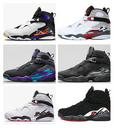 Wholesale Aqua Basketball Shoes - Wholesale 2017 Air retro 8 VIII men basketball shoes Aqua black purple Chrome Playoff red Three Peat 2013 RELEASE Athletic sports sneaker